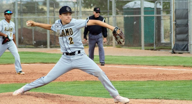 Alamogordo Tiger Avery Mirabal is ready to send the ball on its way to Volcano Vista Hawk Diego Cortes. Mirabal would catch a pop fly of Cortes' ending the fourth inning for the Hawks in the first game of a doubleheader.