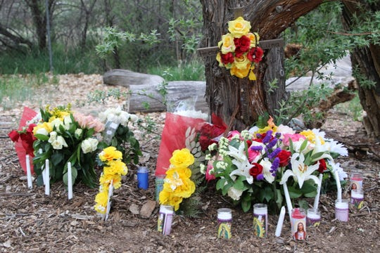 A memorial for 37-year-old Hector Luna-Holguin is seen in Berg Park East on May 9. Luna-Holguin died from a stab wound near the restroom in the area of Berg Bridge, which crosses over the Animas River.