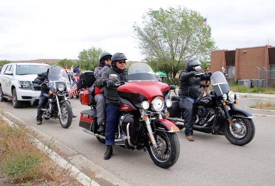 Participants in the Navajo Nation Police Honor Ride get ready to leave the Shiprock Police Department on May 10. The honor ride started on May 9 and will visit all of the tribe's police departments before ending in Window Rock, Ariz.