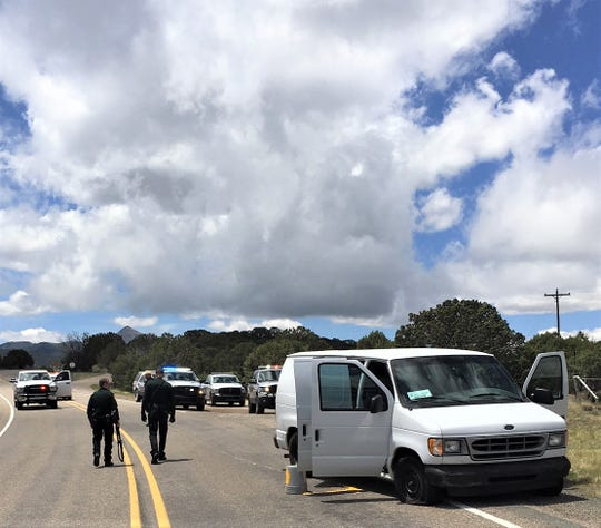 The white Ford van involved in a half-hour high speed chase was searched by Lincoln County deputies after the driver was arrested.