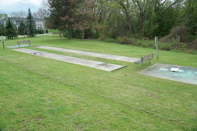The proposed skate park in Milford might be placed just south of its senior center near these shuffleboard courts.