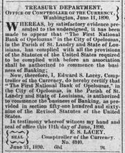 Ad showing the 1st National Bank was approved to operate by the U.S. in 1890.