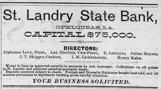 1894 ad for the new St. Landry State Bank.
