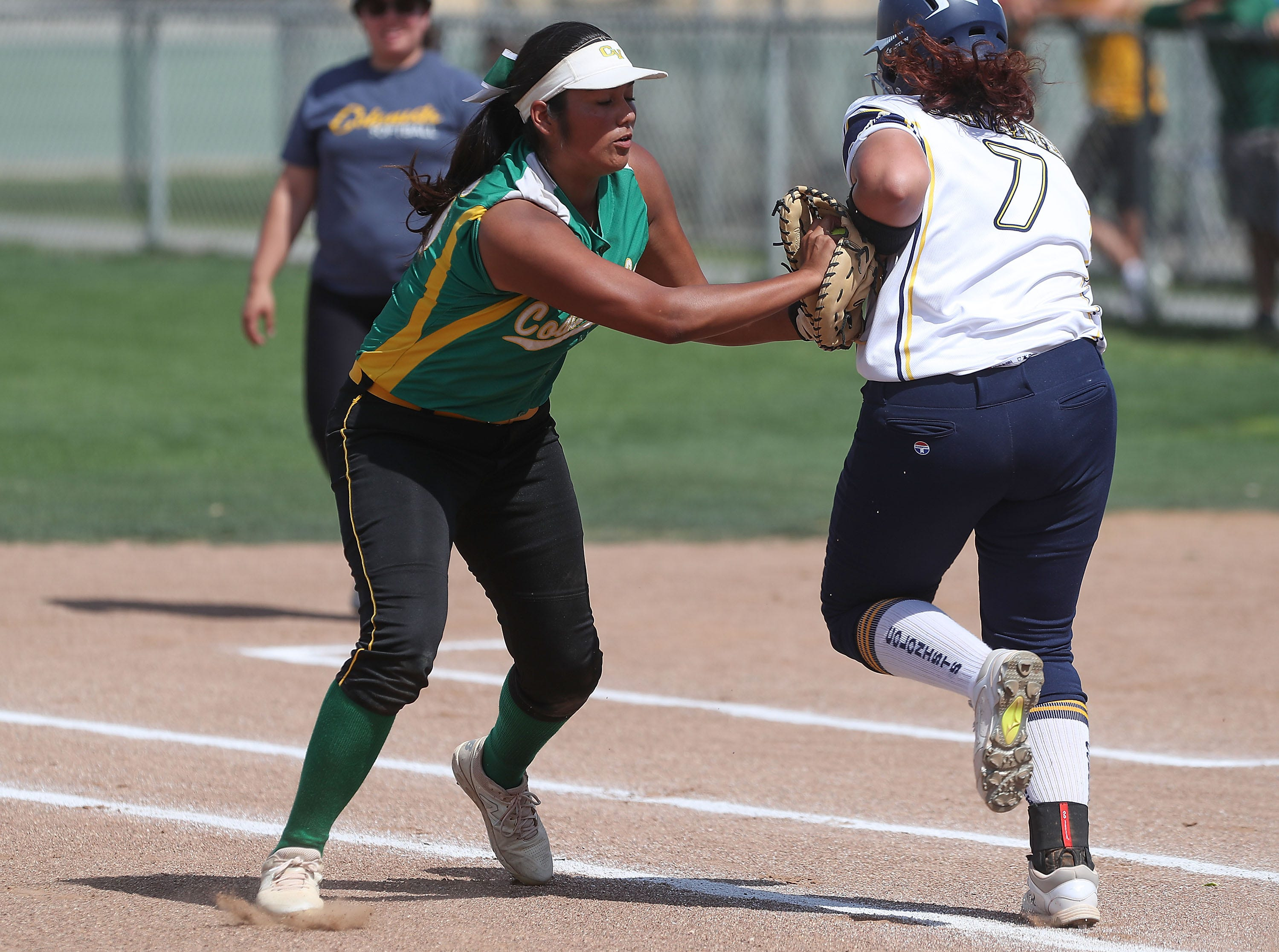 Cheyenne Sandoval of Coachella Valley makes an out against Anaheim during the Arabs loss, May 9, 2019.
