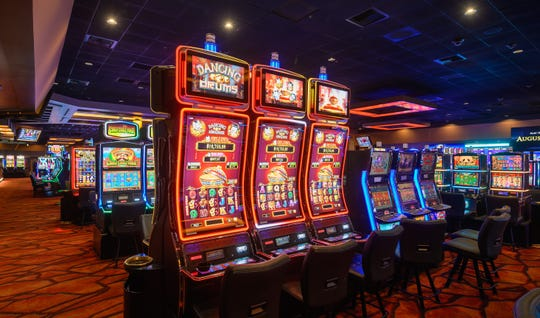 Slot machines at the Augustine Casino in Coachella, Calif.