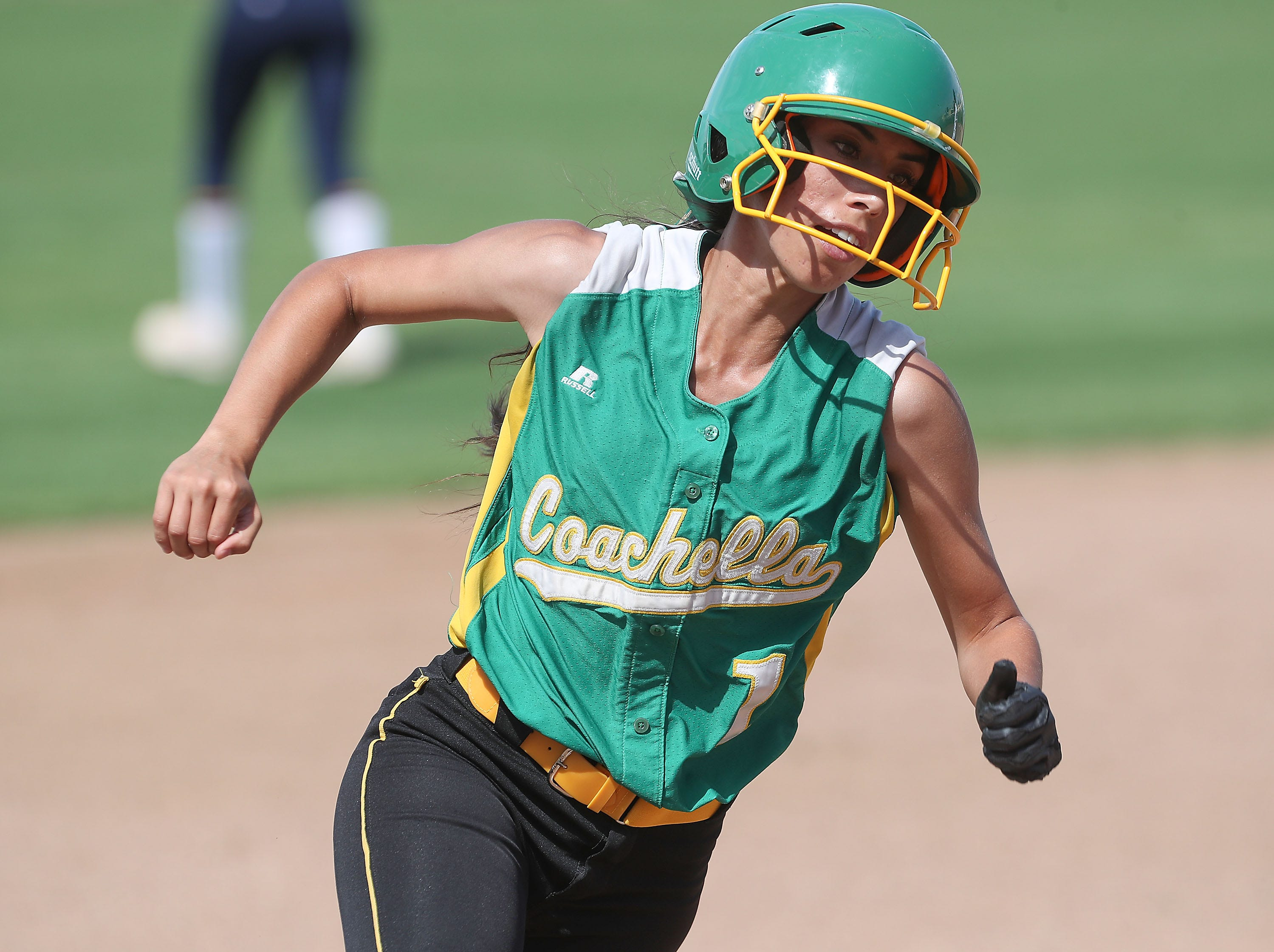 Elizabeth Olivas of Coachella Valley rounds the bases and scores for Coachella against Anaheim, May 9, 2019.