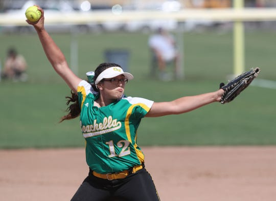 Paula Martinez of Coachella Valley pitches against Anaheim during the Arabs loss, May 9, 2019.