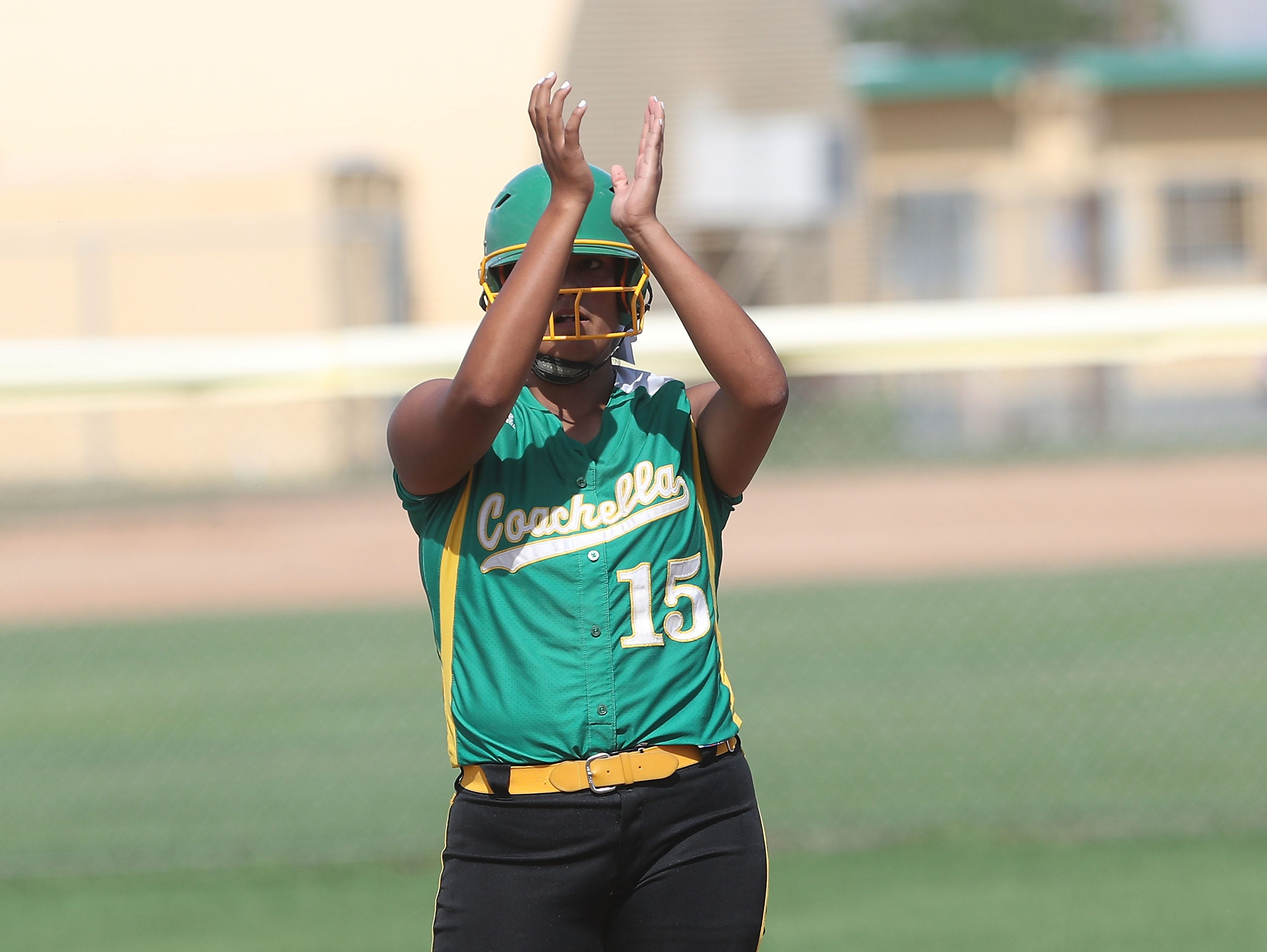 Cheyenne Sandoval of Coachella Valley hits a double against Anaheim during the Arabs loss, May 9, 2019.