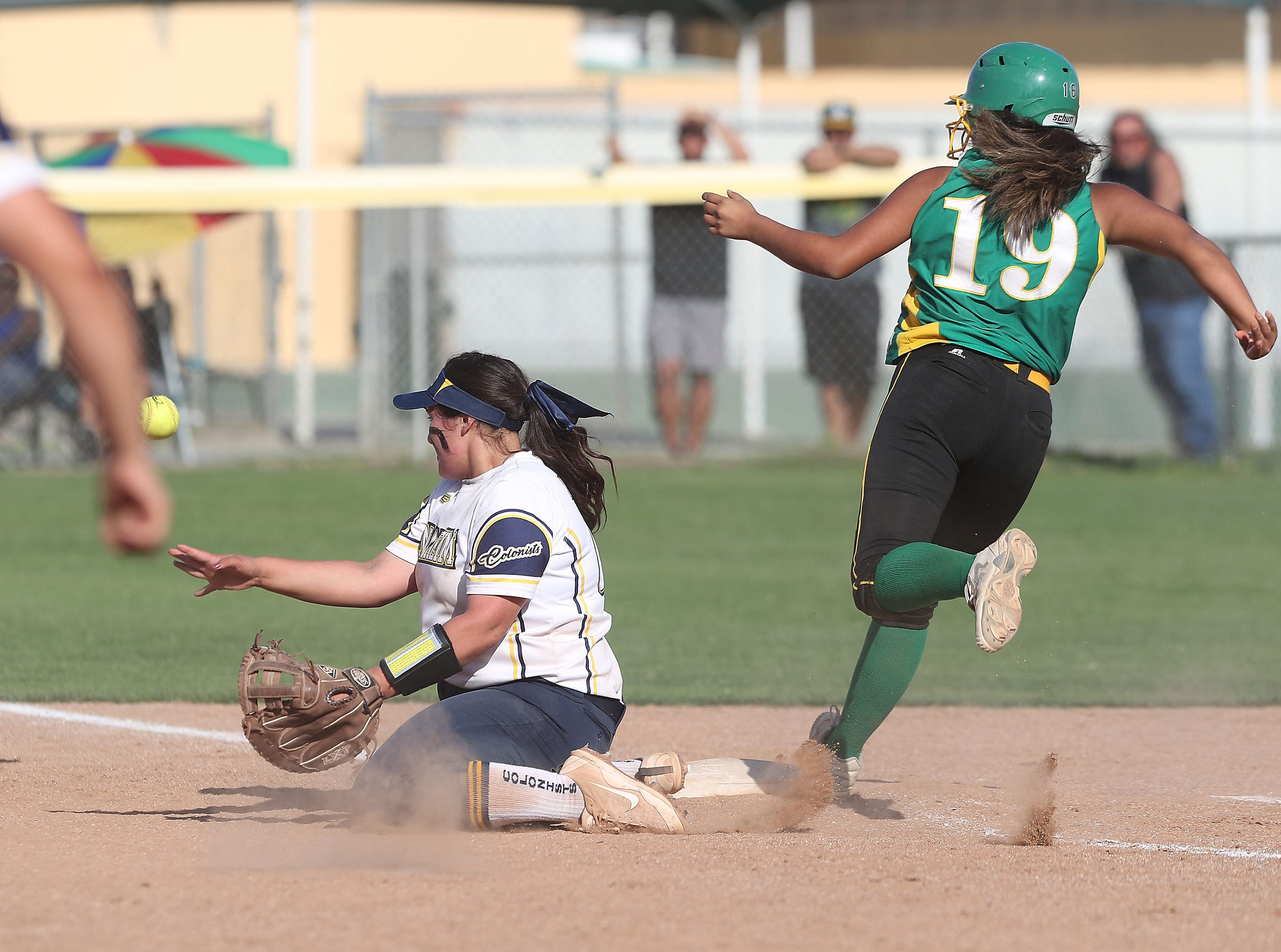 #19 of Coachella Valley hustles to first safely against Anaheim, May 9, 2019.
