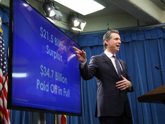 California Gov. Gavin Newsom presents his revised 2019 budget proposal May 9, 2019, in Sacramento, California.