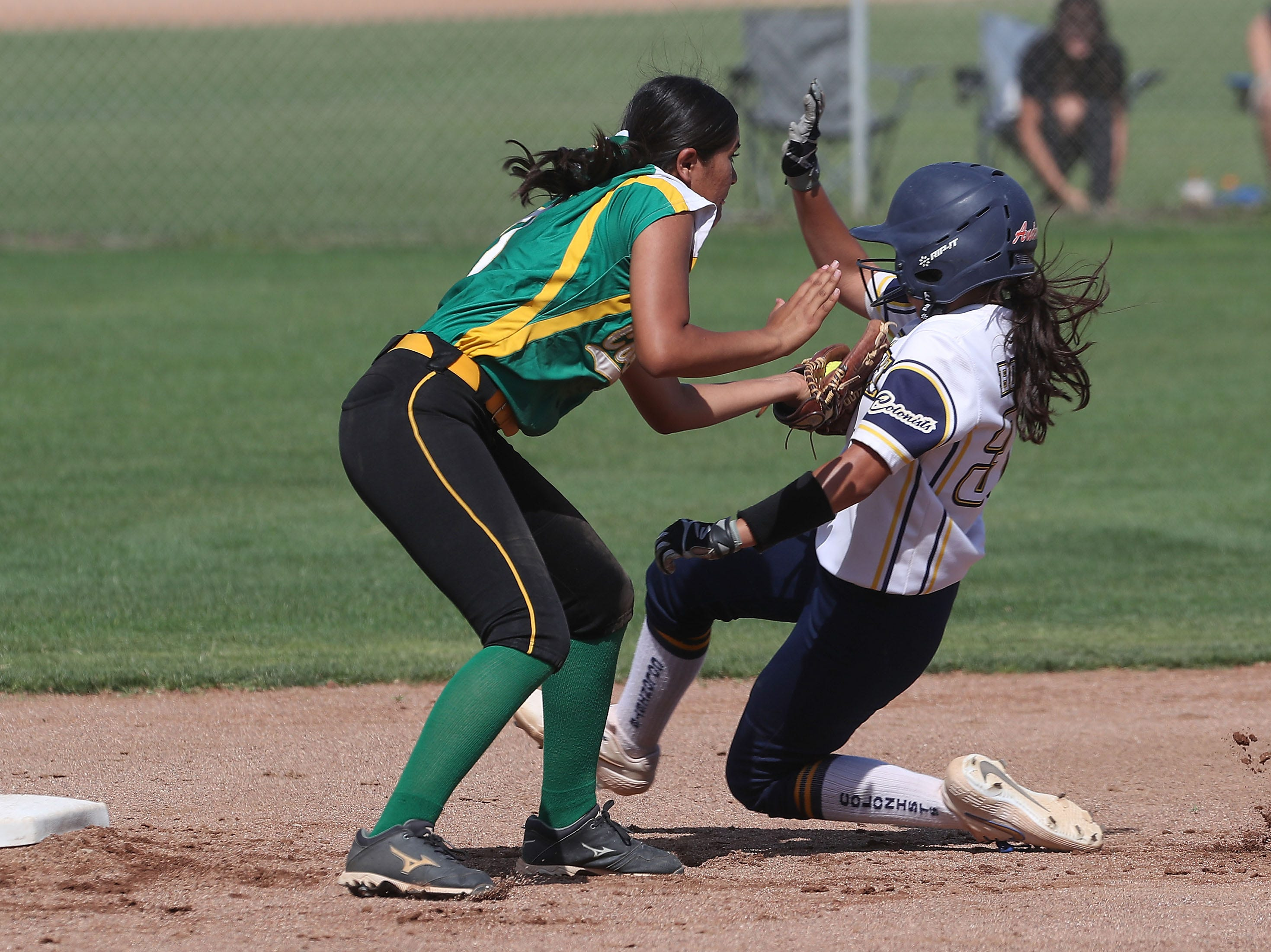 Emily Salinas of Coachella Valley makes an out against Anaheim during the Arabs loss, May 9, 2019.