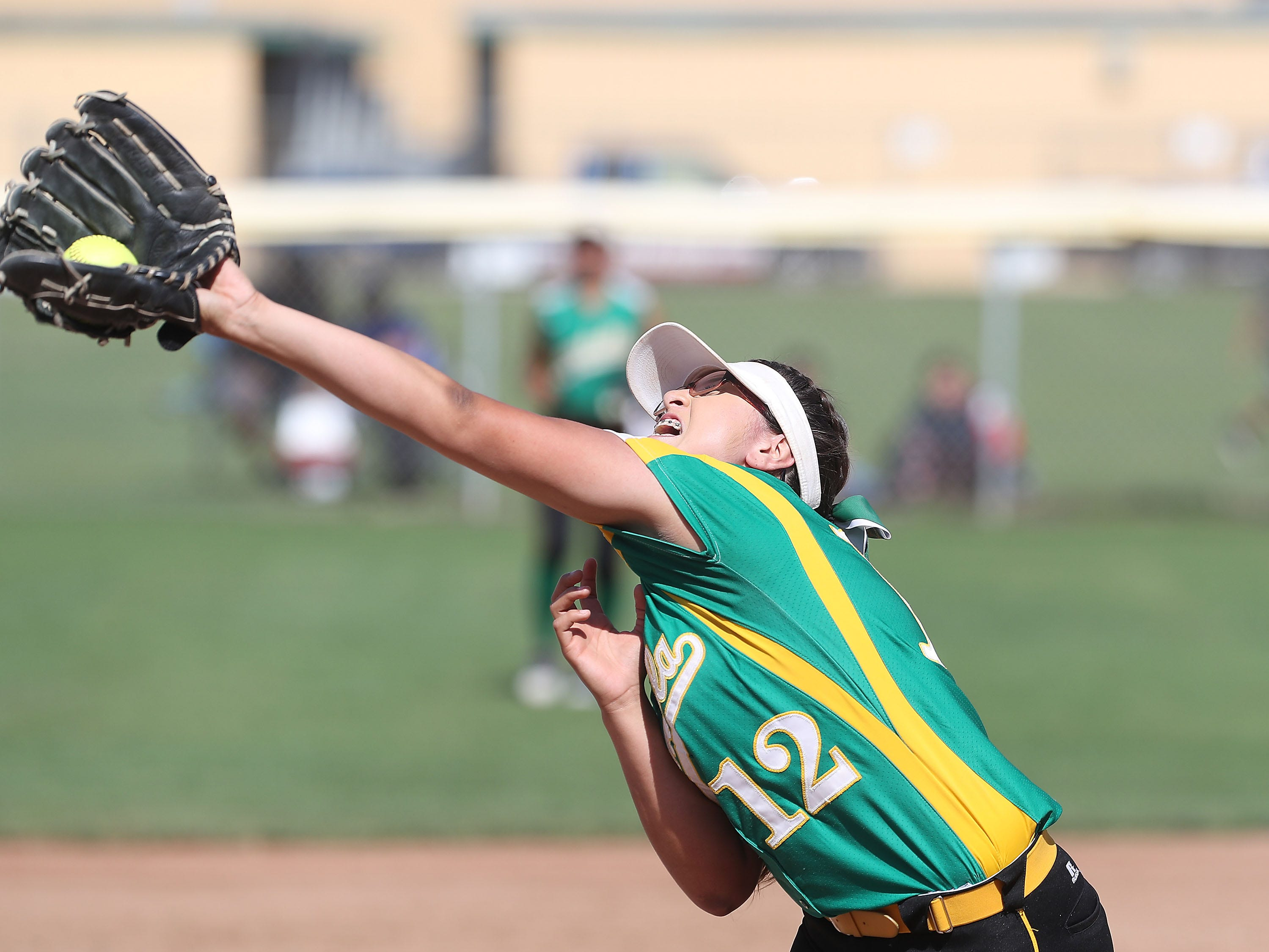 Paula Martinez of Coachella Valley makes an out against Anaheim during the Arabs loss, May 9, 2019.