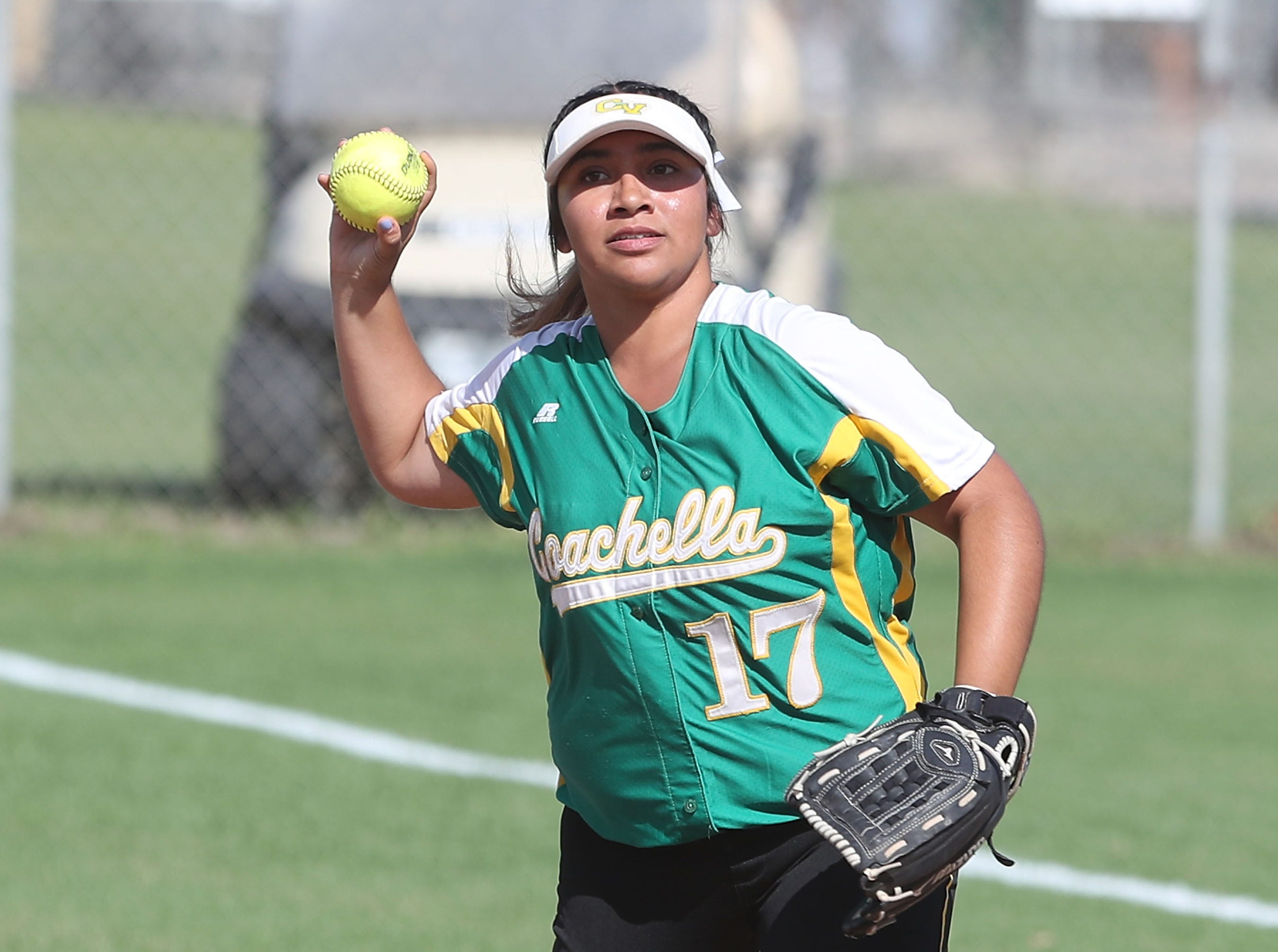 Melissa Rodriguez of Coachella Valley makes an out against Anaheim during the Arabs loss, May 9, 2019.