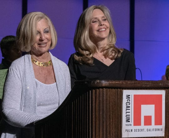 Helene Galen accepts the Buddy Rogers Award from Coachella Valley Symphony President, Dr. Lisa Lindley