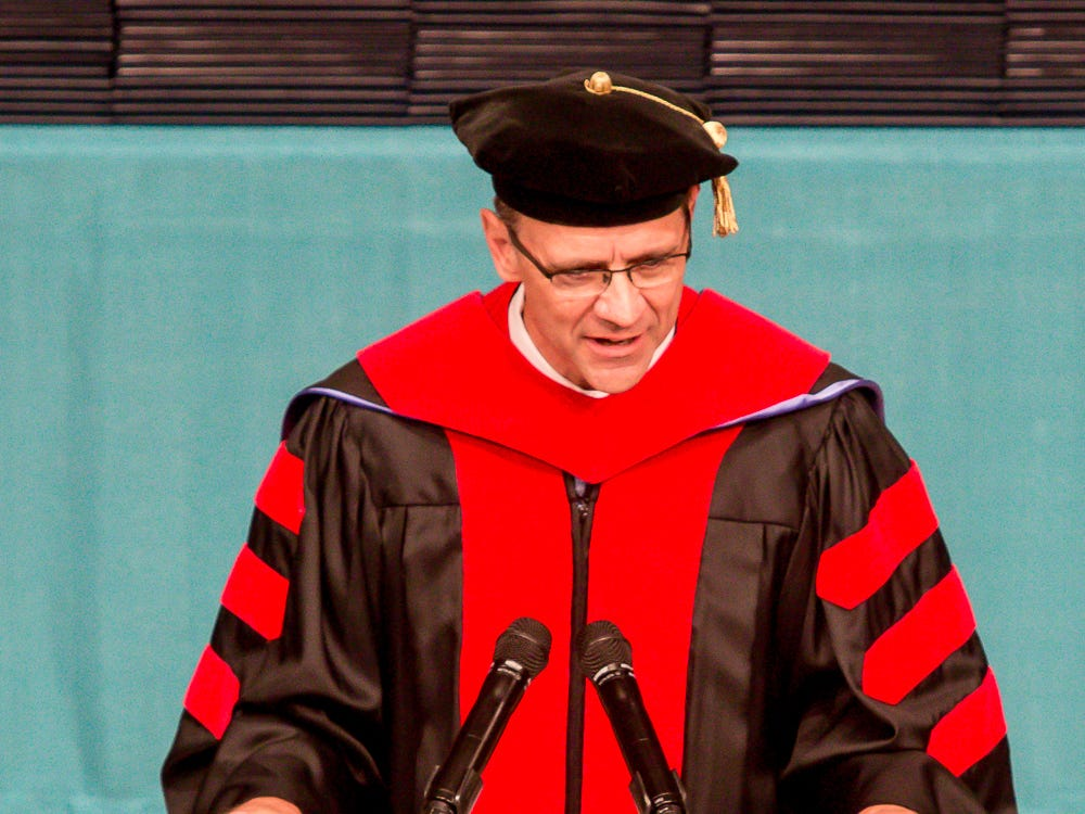 Dr. Jeff Redlin, campus church pastor, speaks during Pensacola Christian College's 44th commencement ceremony on Friday, May 10, 2019.