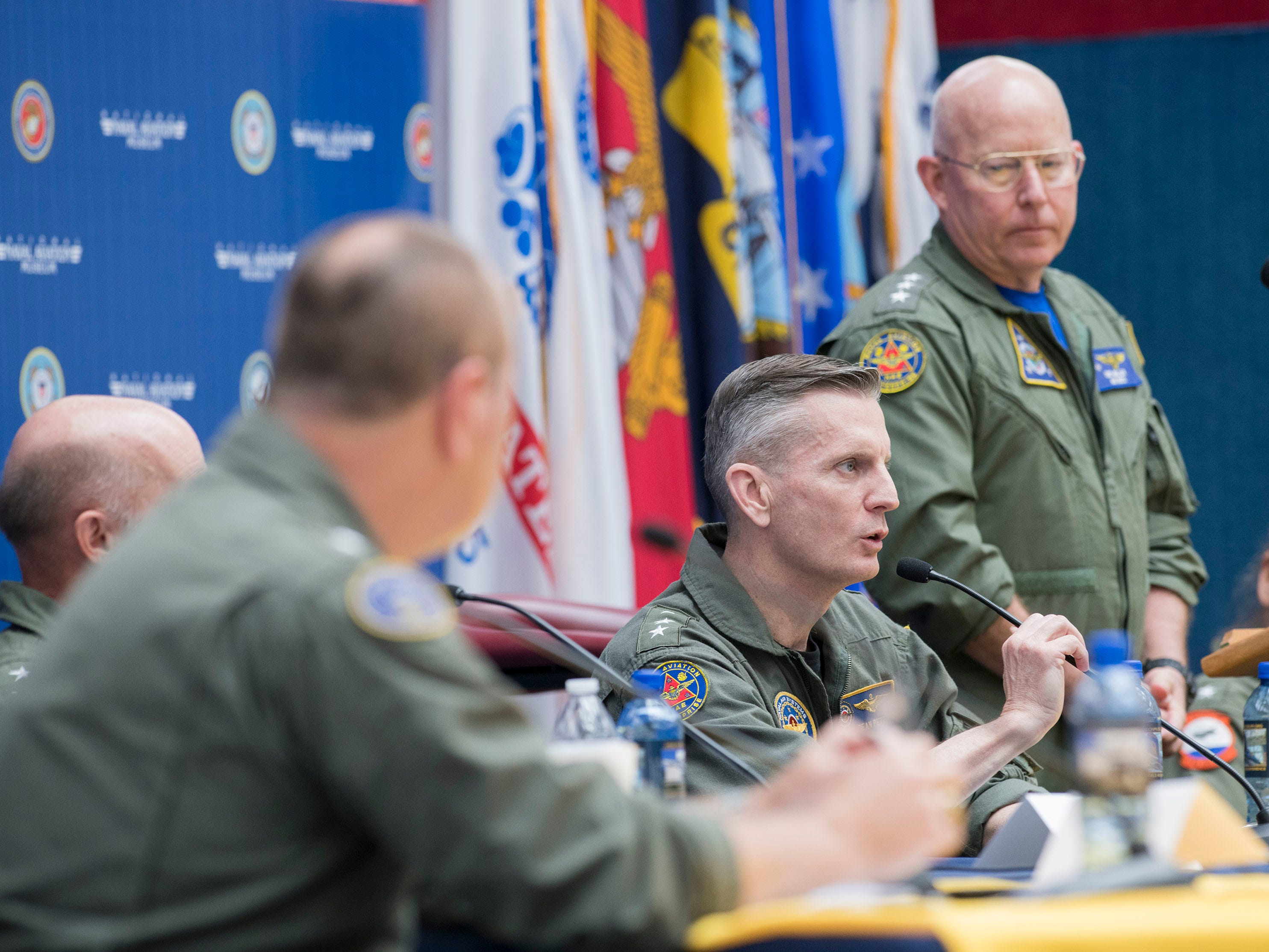 Vice  Adm. Daniel Peters offers his thoughts to young aviators during a discussion panel on Naval Aviation Today and Tomorrow during the 2019 Naval Aviation Symposium at the National Naval Aviation Museum on Friday, May 10, 2019.