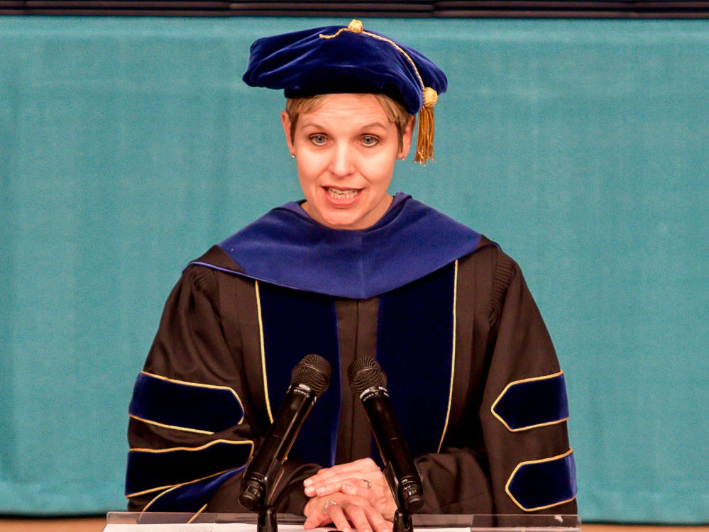 Dr. Raylene Cochran, academic vice president of Pensacola Christian College, speaks during the school's 44th commencement ceremony on Friday, May 10, 2019.