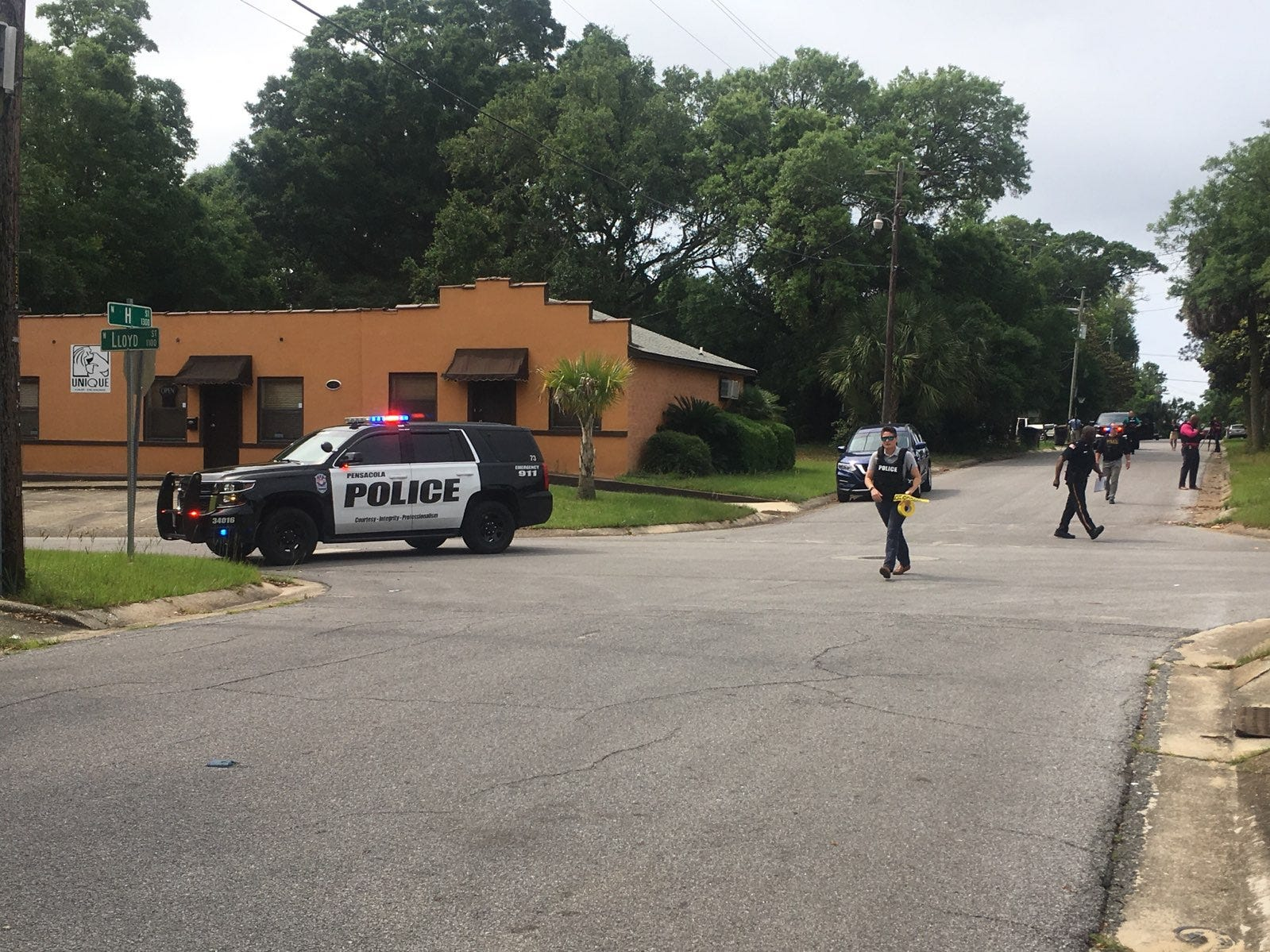 Pensacola Police respond to a call about shots fired at a residence near the corner of Lloyd Street and G Street as of 9:50 a.m. Friday, May 10, 2019.