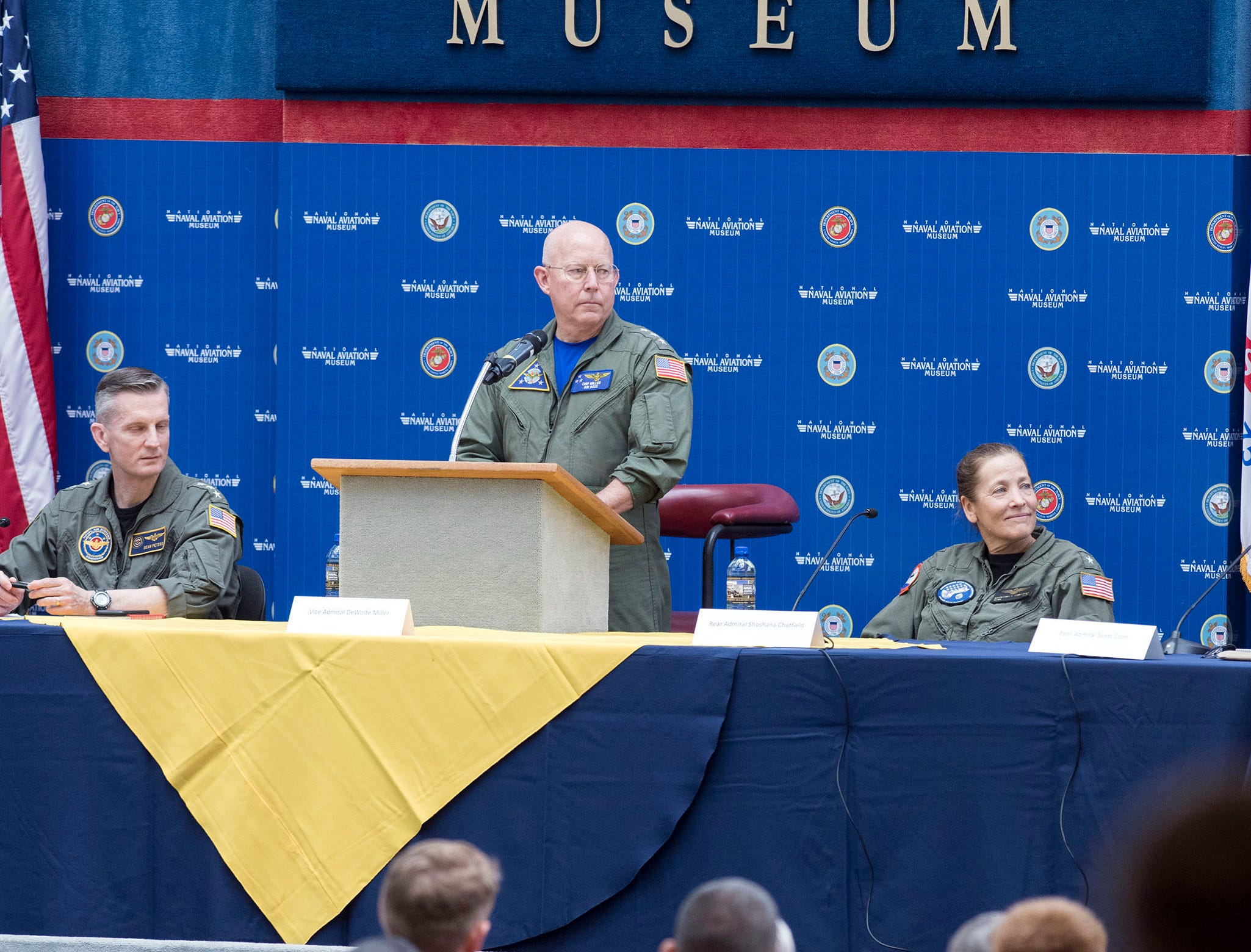 """Vice Adm. DeWolfe Miller, the commander of Naval Air Forces, leads a panel discussion on """"Naval Aviation Today and Tomorrow"""" during the annual aviation symposium at the National Naval Aviation Museum on board Naval Air Station Pensacola on Friday, May 10, 2019."""