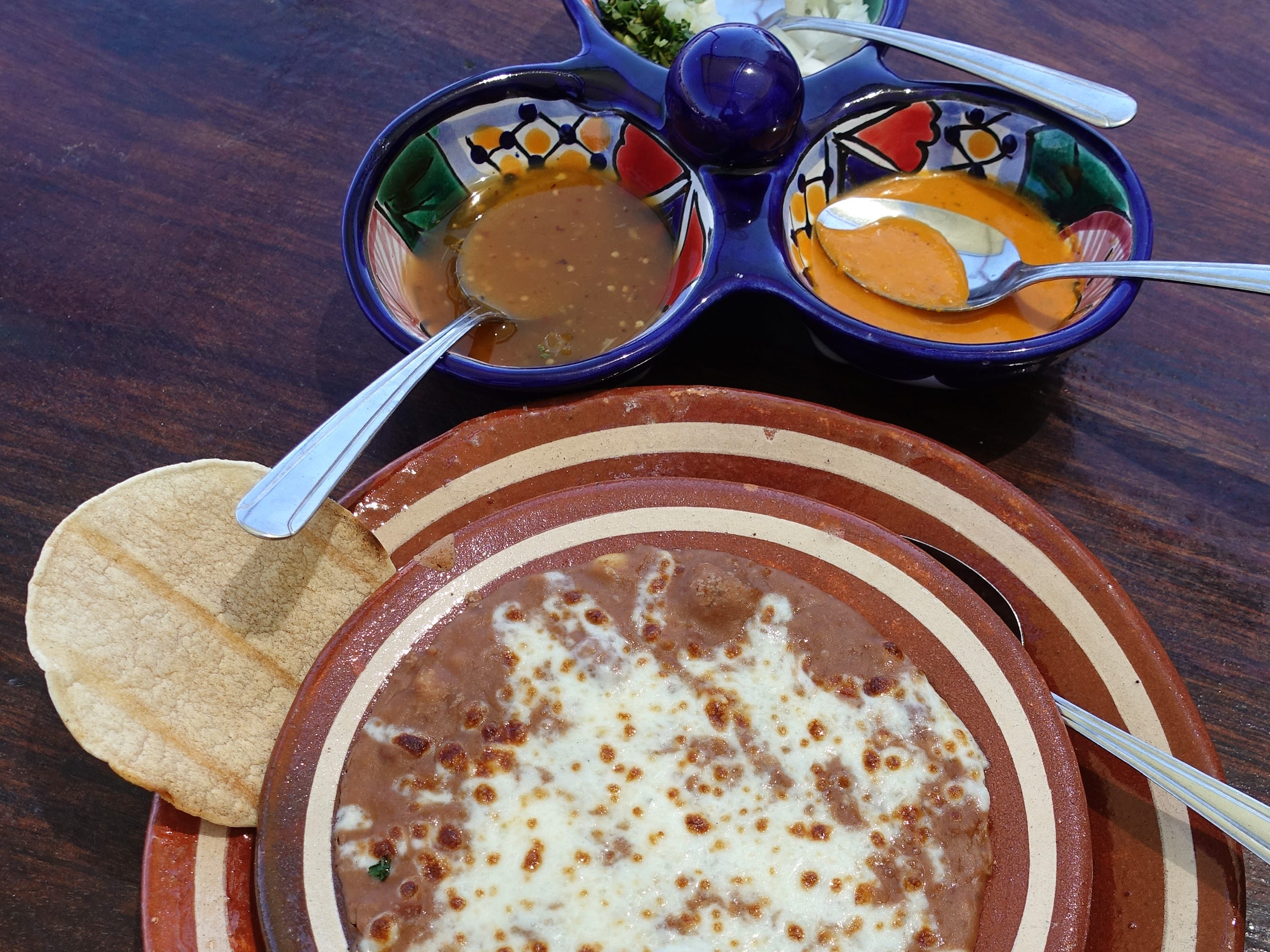 Frijoles refritos, tostaditas and salsa at La Marquesa in Phoenix.
