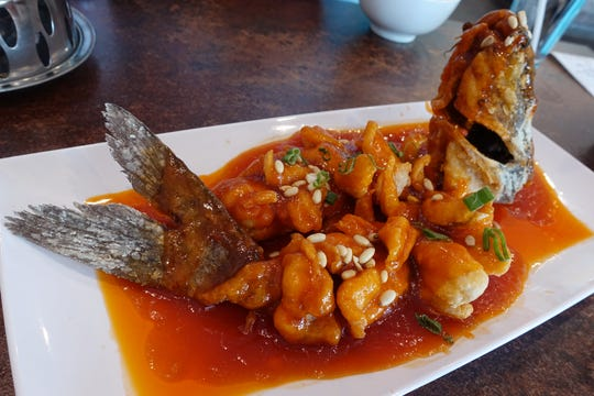Sweet and sour squirrel-shaped fish at Old Town Taste in Tempe.