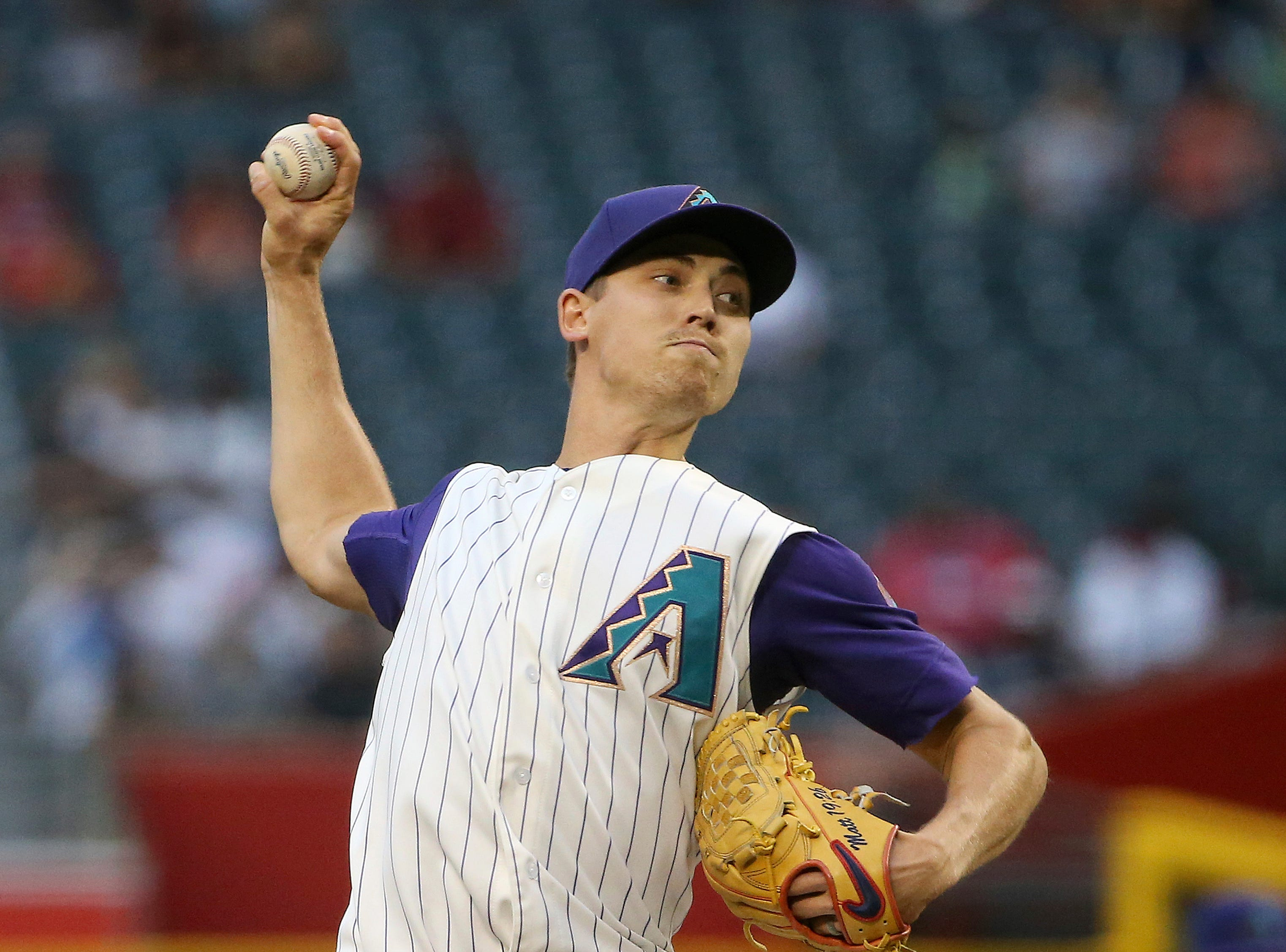 Arizona Diamondbacks starting pitcher Luke Weaver throws a pitch against the Atlanta Braves during the first inning of a baseball game Thursday, May 9, 2019, in Phoenix. (AP Photo/Ross D. Franklin)
