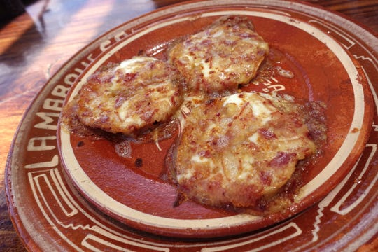 Chilindrinas regias with salsa, Chihuahua cheese and pork cheek at La Marquesa in Phoenix.