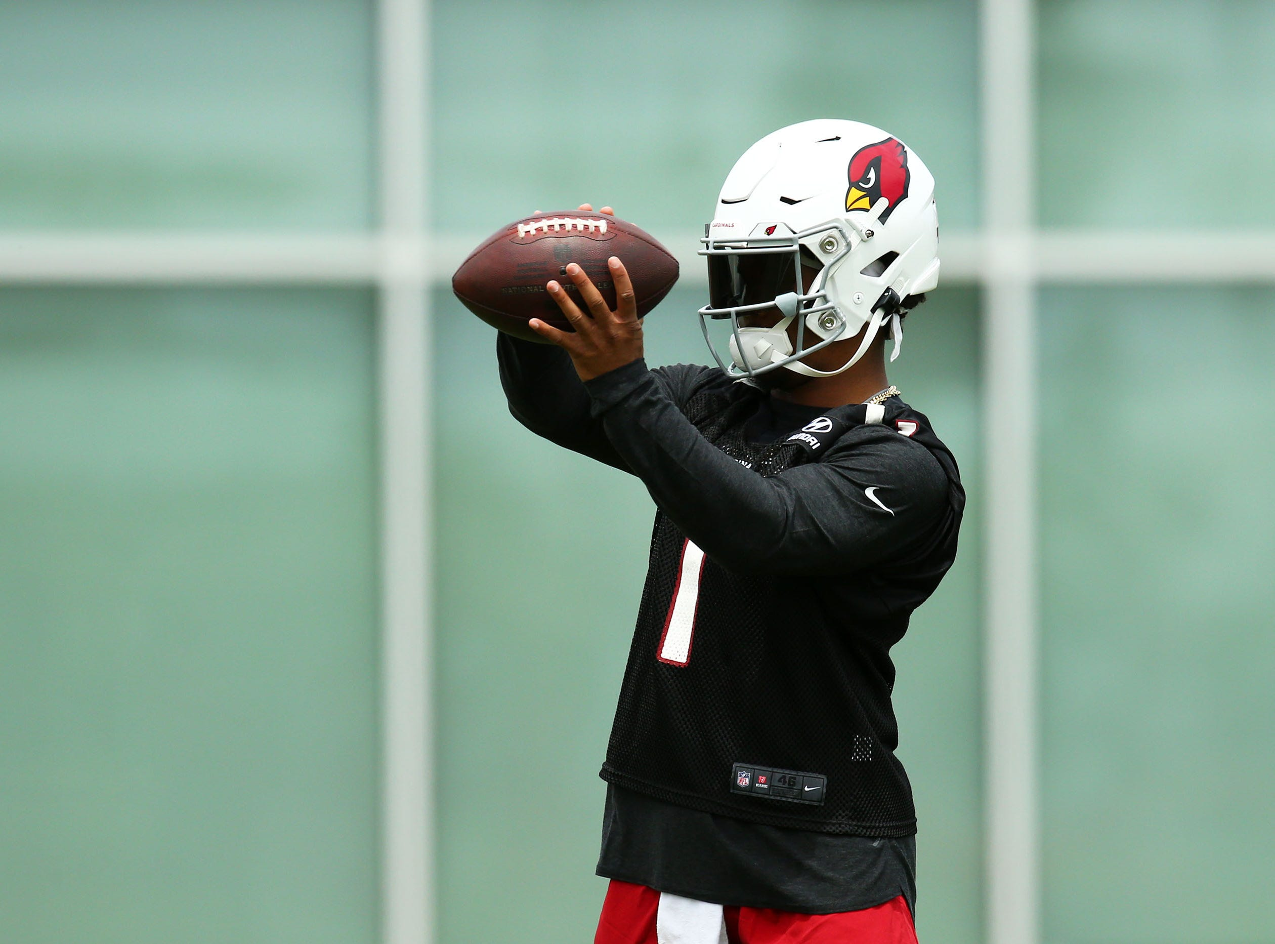 Cardinals quarterback Kyler Murray makes his debut at rookie minicamp on May 10.