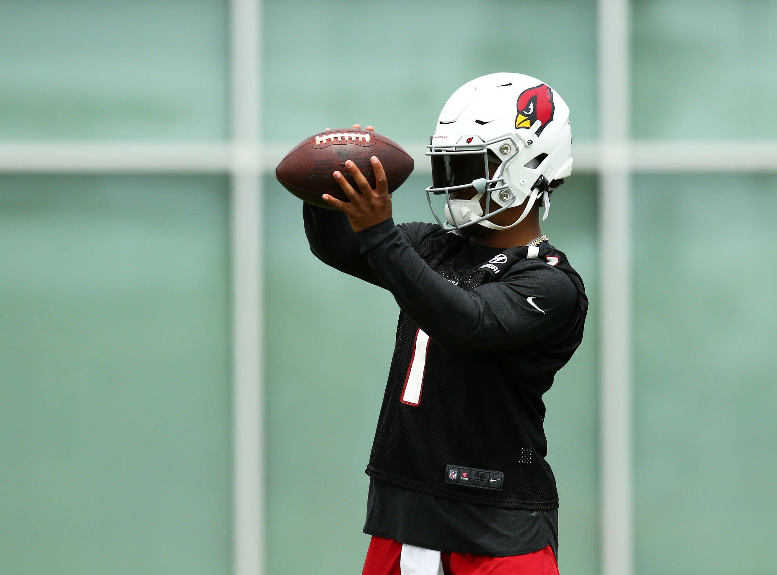 Cardinals quarterback Kyler Murray makes his debut at rookie minicamp on May 10.