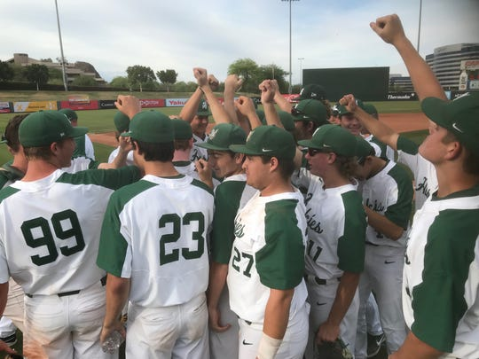 Horizon players celebrate after advancing to the 5A Arizona high school baseball championship game.