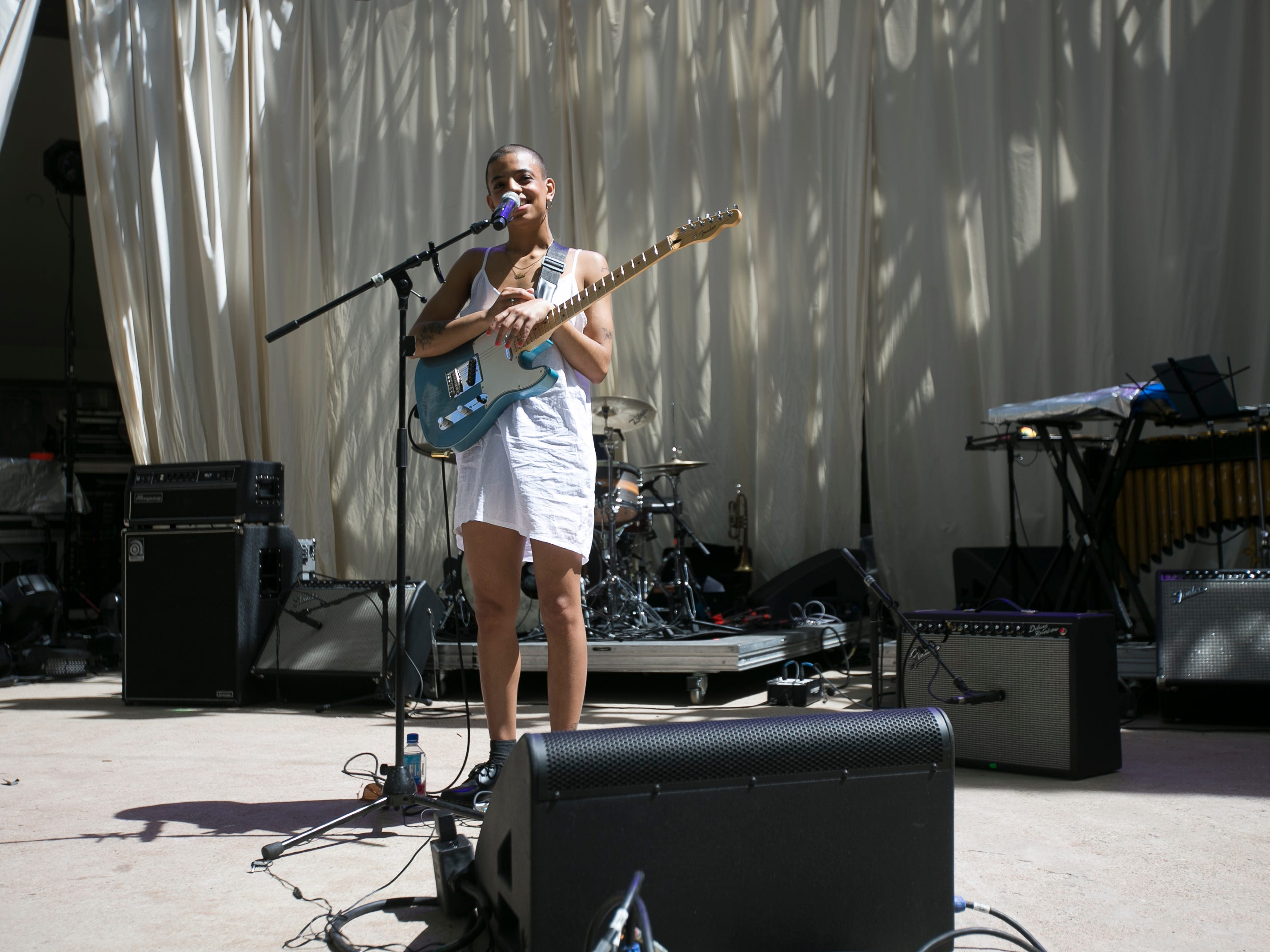 Tasha performs on the main stage at the 2019 FORM Arcosanti music festival near Camp Verde, Arizona, on May 10, 2019.