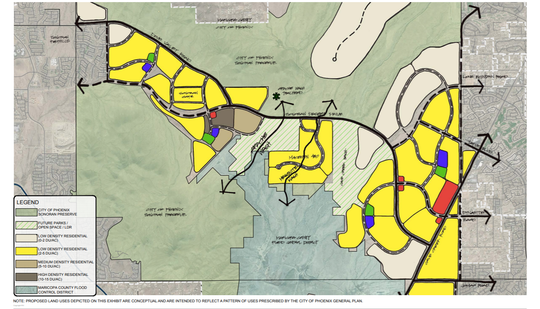 A conceptual land use plan shows future development patterns in the area based on the Phoenix's General Plan