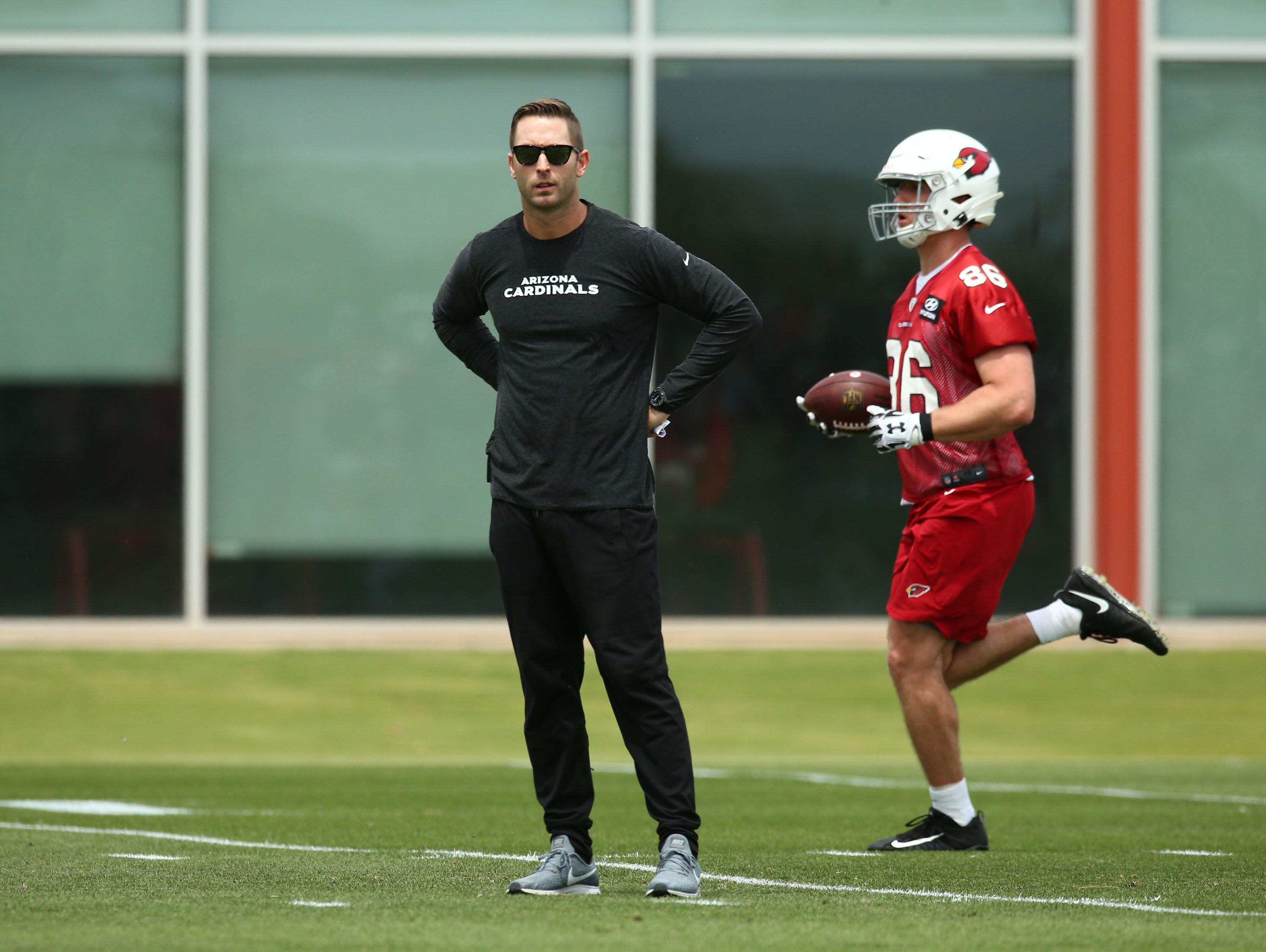 Cardinals head coach Kliff Kingsbury looks on during the first day of rookie minicamp on May 10.