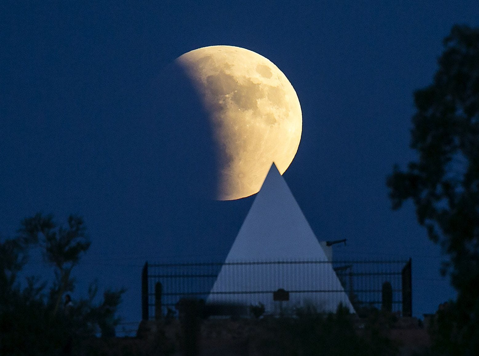 A supermoon rises over Hunt's Tomb in Papago Park  in Phoenix in 2015. George Hunt was the first governor of Arizona.