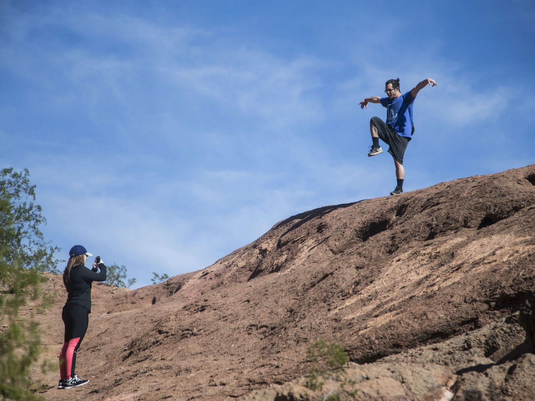 Lindsey Gilford takes a picture of Nikolas Manders during their first time at Papago Park in Phoenix on Feb. 14, 2016.