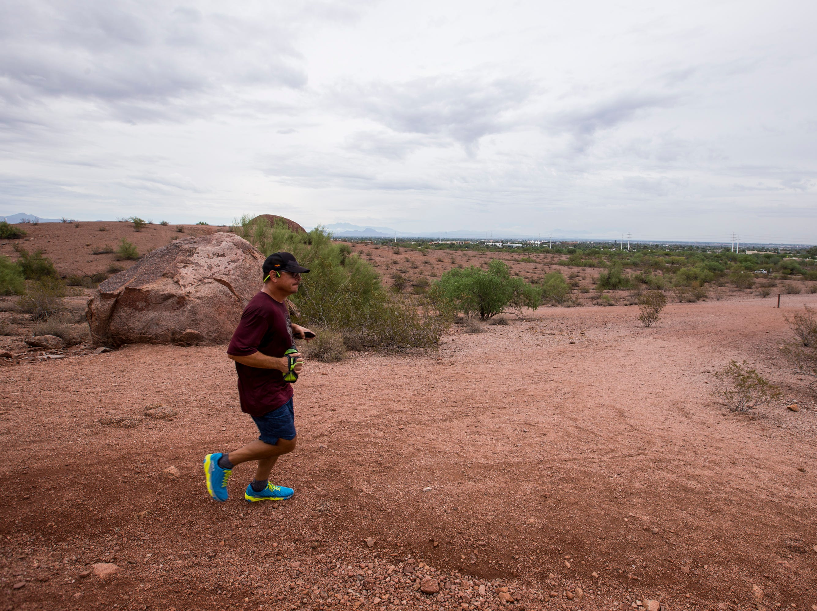 A man runs at Papago Park on Oct. 1, 2018, in Phoenix.