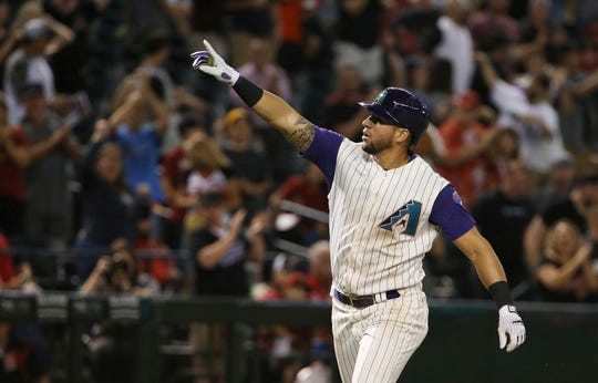 Diamondbacks outfielder David Peralta celebrates after hitting a home run against the Braves during the ninth inning of a game on May 9 at Chase Field.