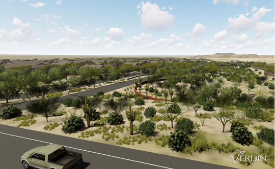 A rendering showing the proposed MacEwen 480 project from Sonoran Desert Drive looking south.