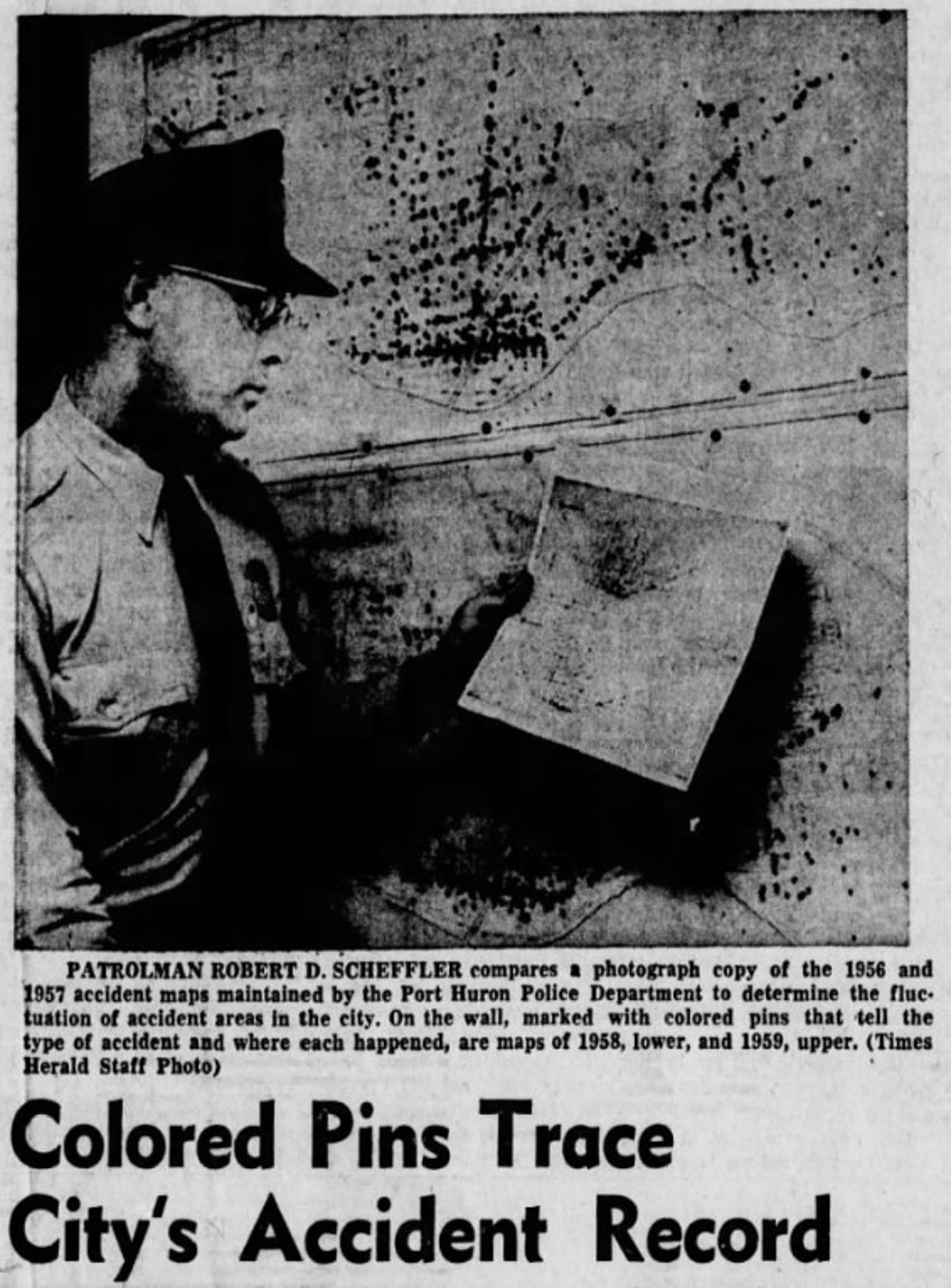 A November 1959 Times Herald clipping shows how colored pins on a map helped the Port Huron's police department track traffic crashes.