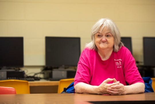 Delores Fallena, 76, talks about her journey inside a classroom at the Harrison Center Thursday, May 9, 2019. After taking night classes for several years, Fallena is graduating from the school this spring with her GED.
