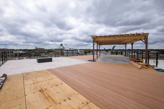 A rooftop patio is being constructed for residents on the roof of the Ballentine building in Port Huron. The patio will include a water feature, gas fireplace and seating.