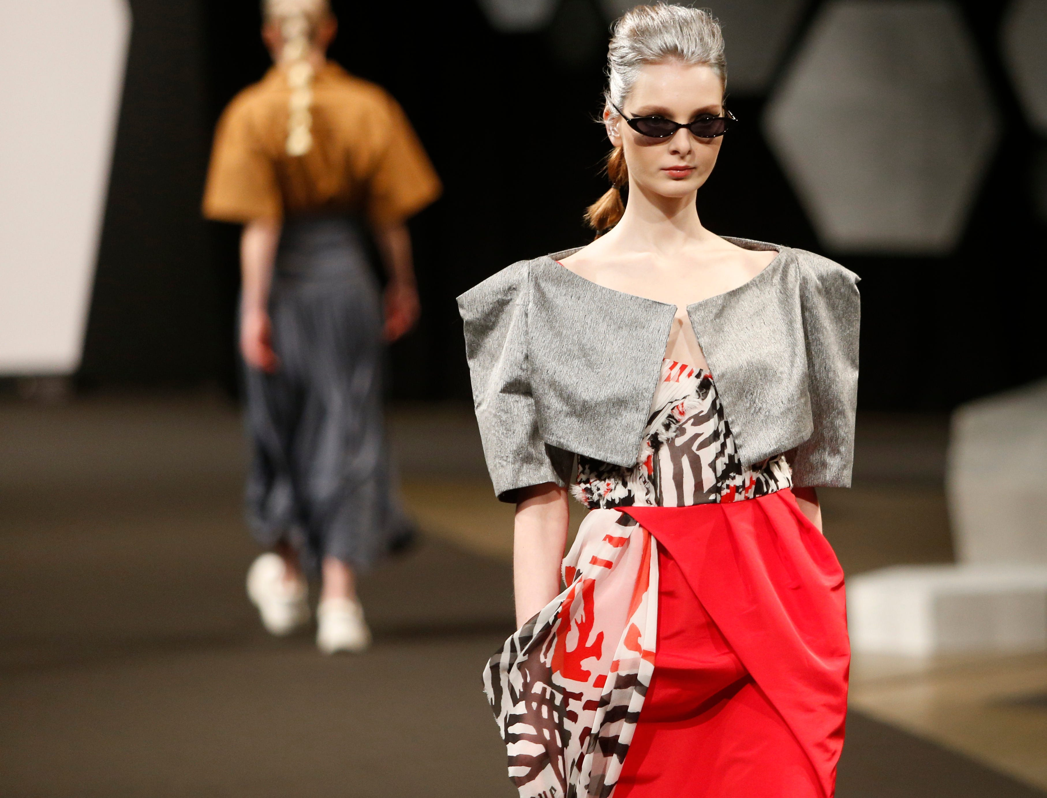 Designs from the collection of Marist College Fashion Department senior Olivia Spathakis during the 33rd Marist College Silver Needle Runway Show on May 10, 2019.