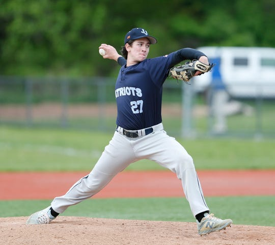 John Jay's Charlie Costello on the mound during Thursday's game versus Arlington on May 9, 2019.