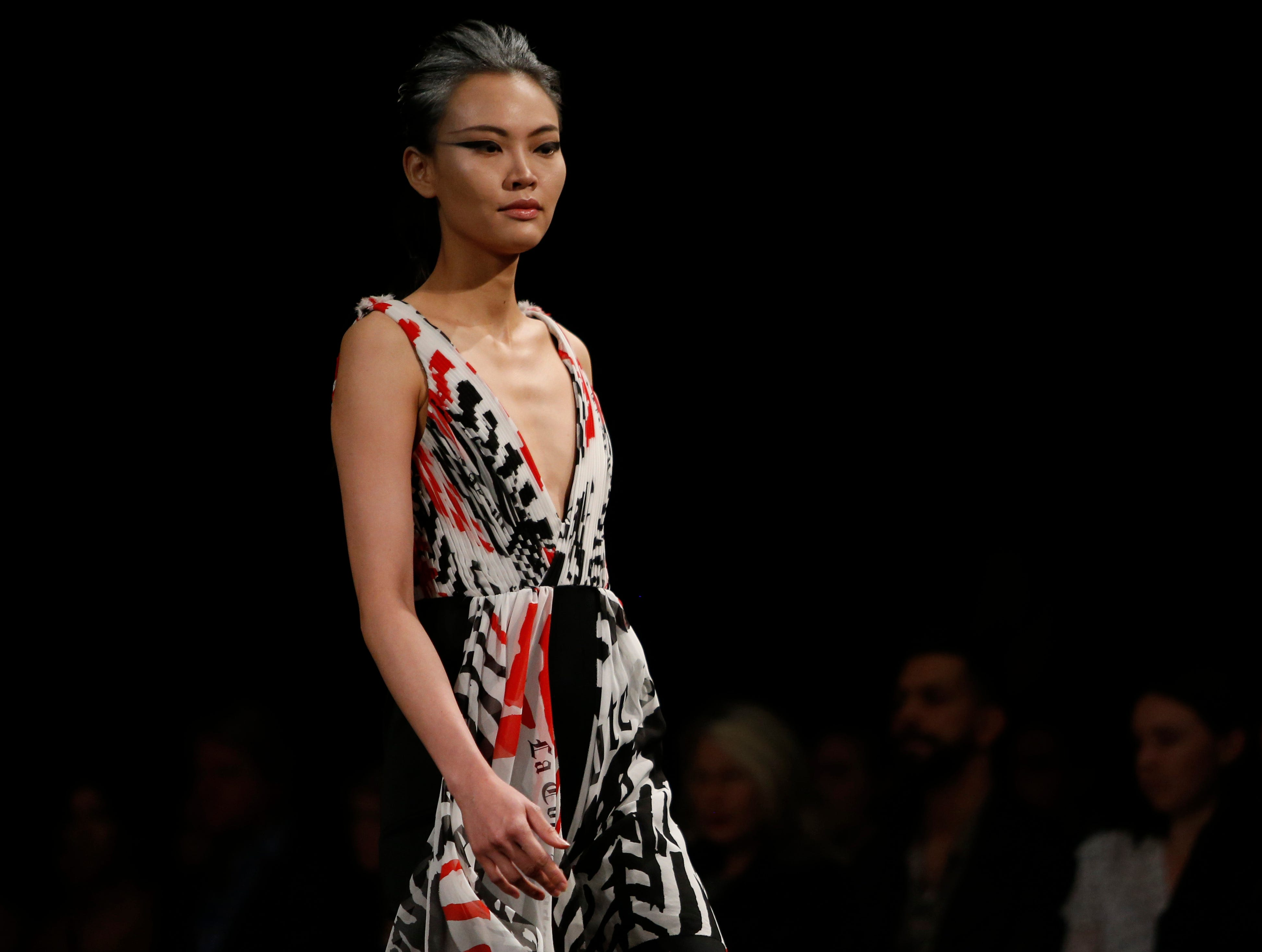 Designs from the collection of Marist College Fashion Department senior Raina Rosario during the 33rd Marist College Silver Needle Runway Show on May 10, 2019.