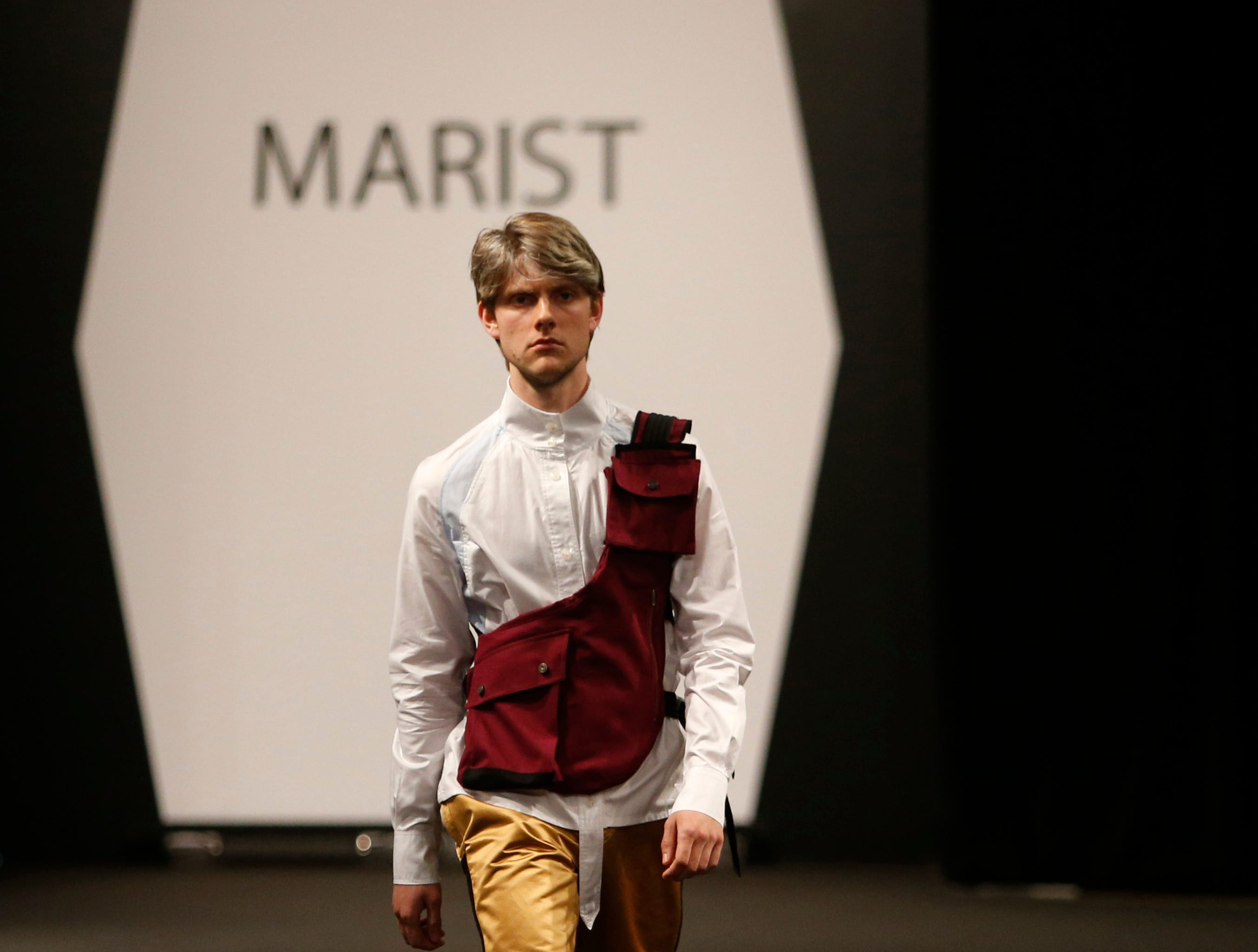 Designs from the collection of Marist College Fashion Department senior Leander Trotter during the 33rd Marist College Silver Needle Runway Show on May 10, 2019.