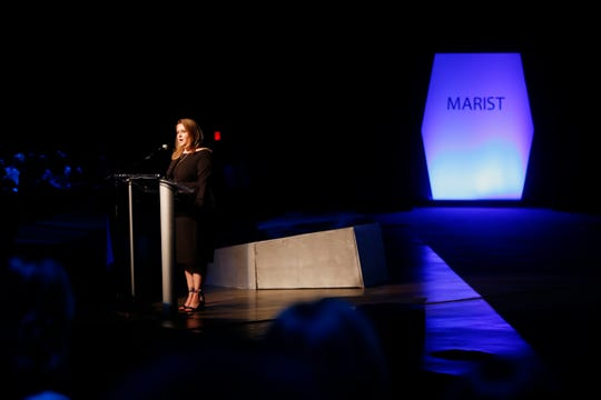 Dean of the School of Communications and Arts for Marist College, Lyn Lepre speaks during the 33rd Marist College Silver Needle Runway Show on May 10, 2018.