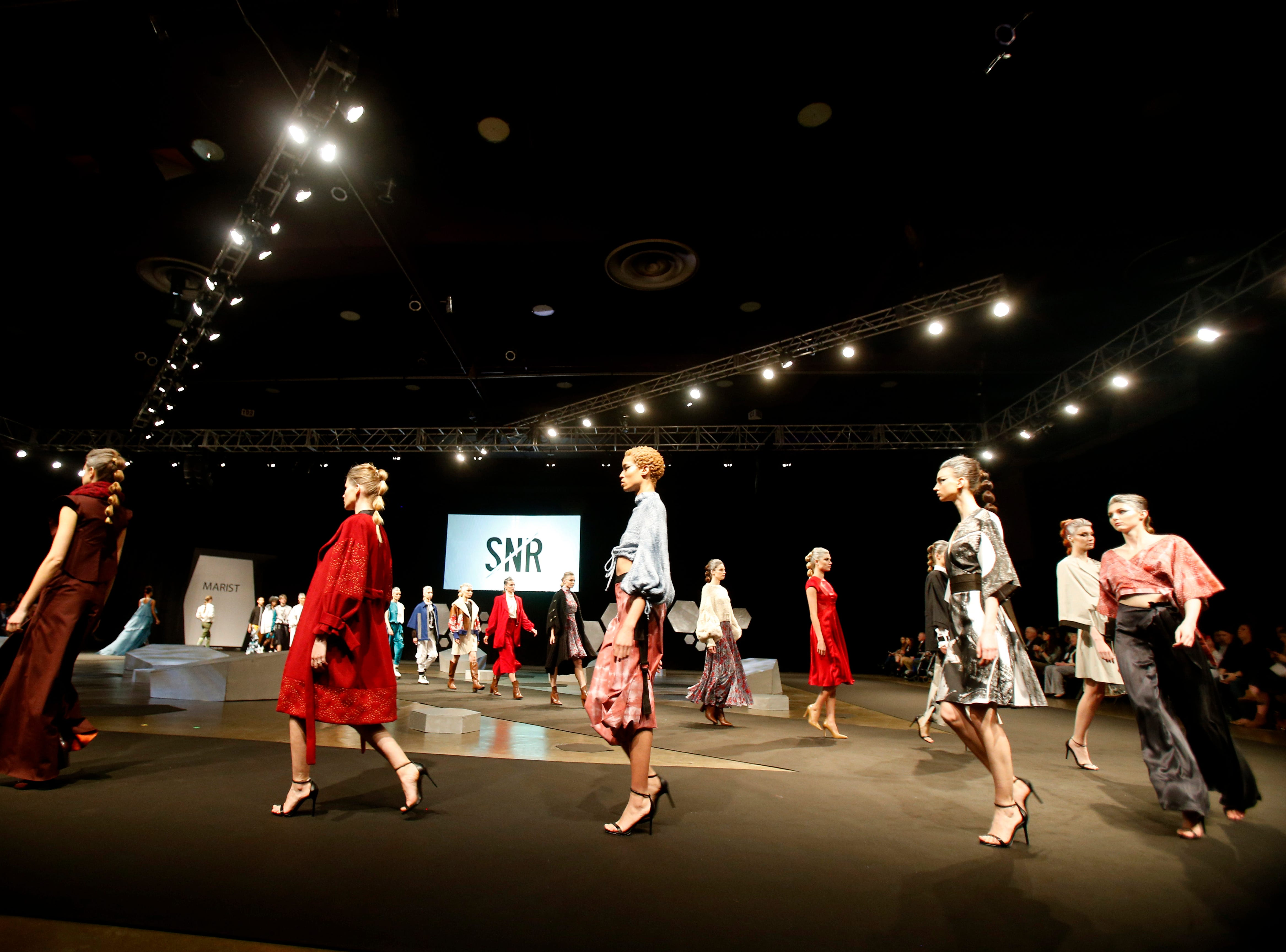 Models enter the runway for the finale of the 33rd Marist College Silver Needle Runway Show on May 10, 2019.
