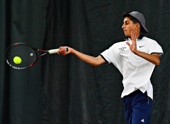 Dallastown's Aryan Saharan, seen here in a file photo, teamed with Dylan Patel for a win at No. 2 doubles on Wednesday against Hershey.
