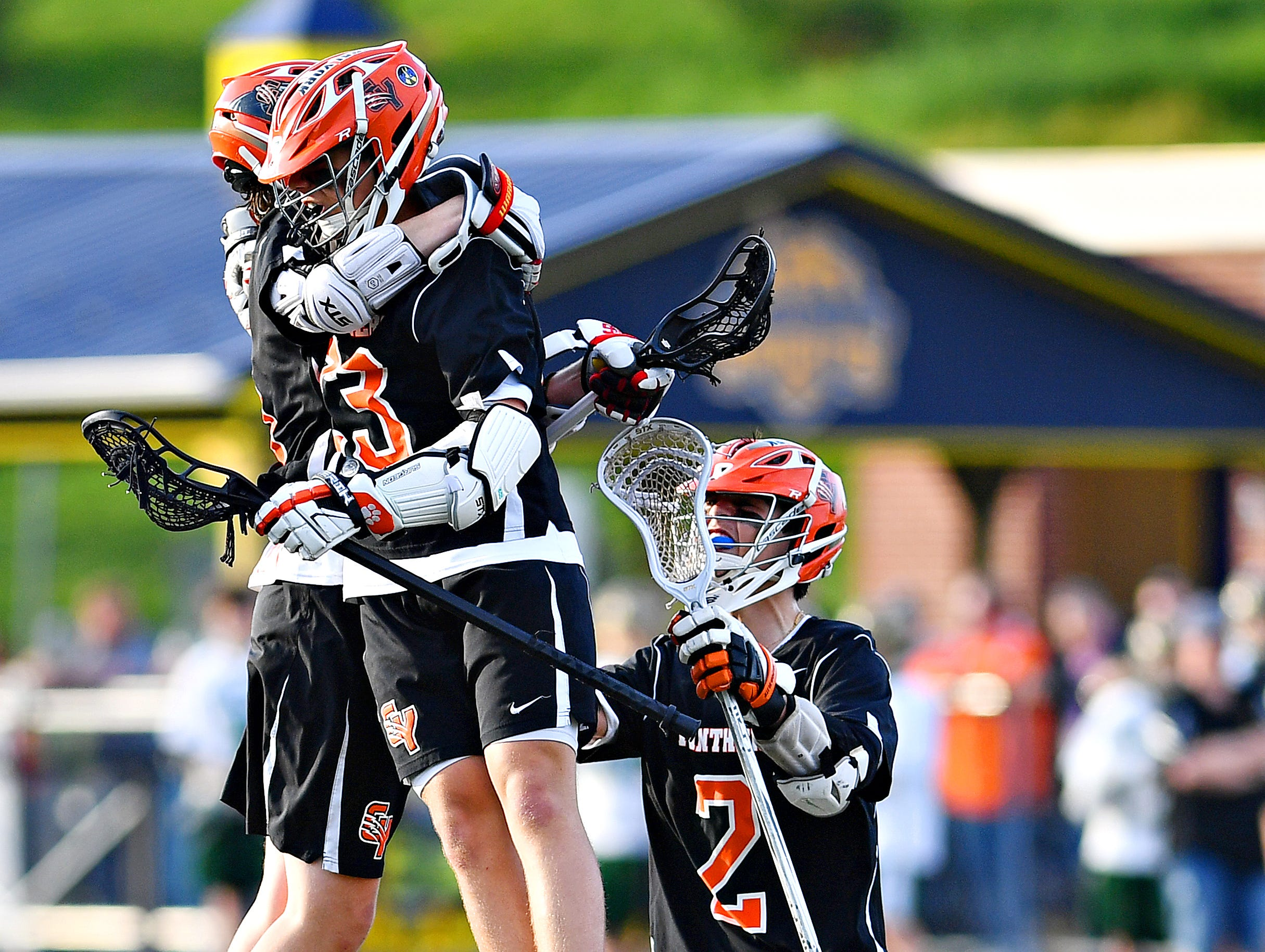 Central York vs York Catholic during lacrosse championship action at Eastern York Senior High School in Wrightsville, Friday, May 10, 2019. Central York would win the title game 13-5. Dawn J. Sagert photo