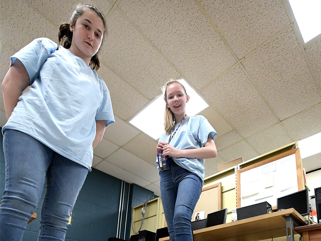 Saint Theresa School studentw Melissa Zack, left, and Katheryn Samsom test their robotic vehicle on a course during the Robogirl workshop at the Pathways to Your Future: Exploring STEAM Careers event at Penn State York Friday, May 10, 2019. Over 200 seventh-grade girls from 28 area schools participated in the program which highlighted science, technology, engineering, art, and mathematics (STEAM) careers. Industry leaders administered the workshops during the program, which is in its 23rd year. Bill Kalina photo